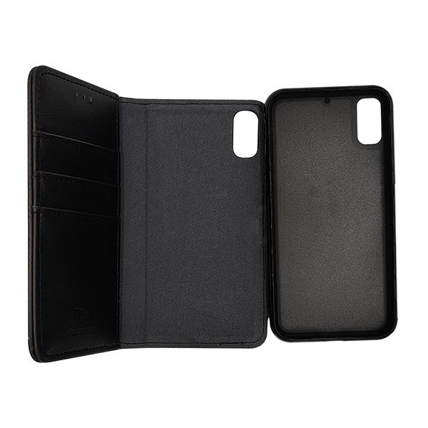 iPhone X & XS - 2i1 aftagelig magnet cover til etui m. kortplads sort